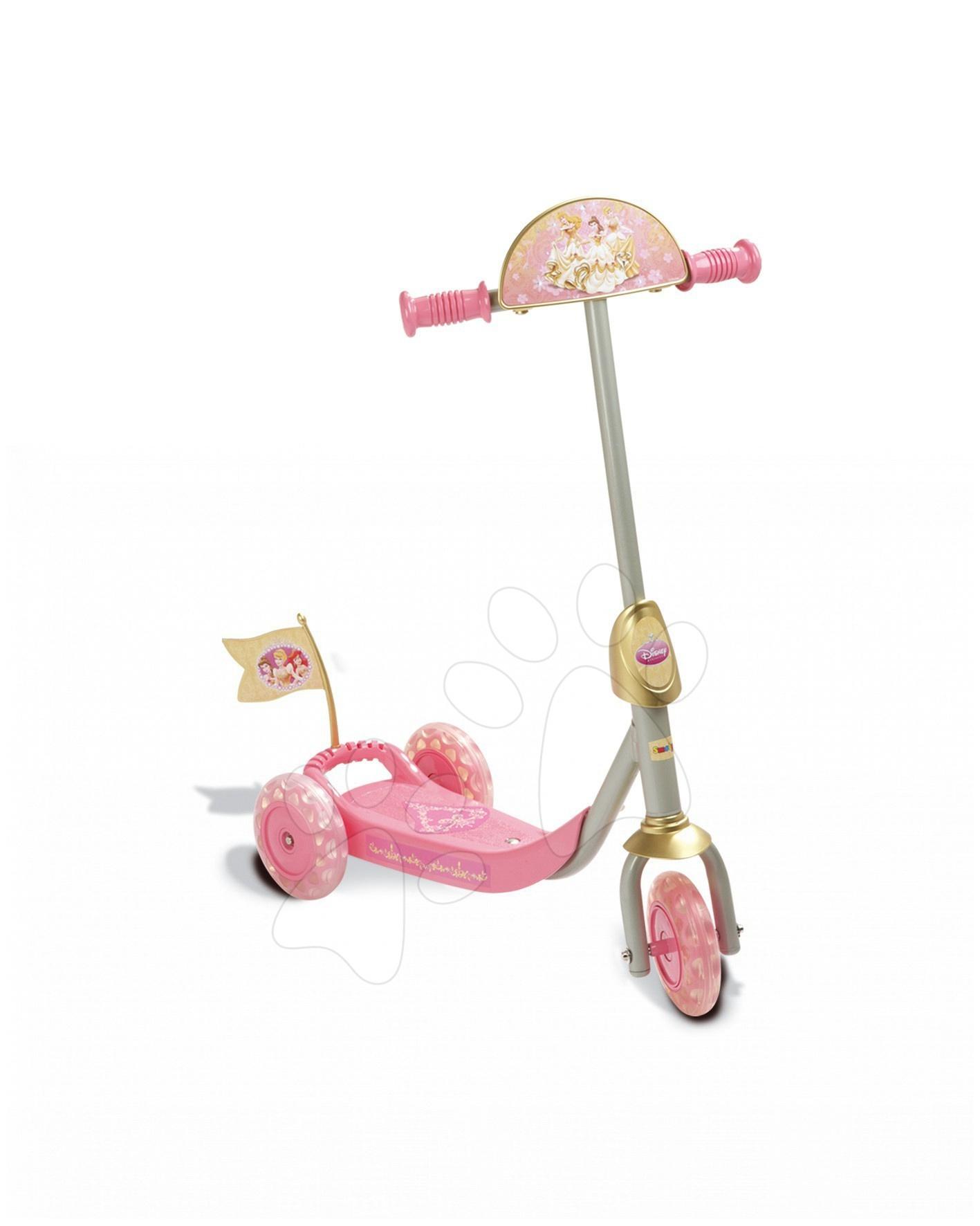 Koloběžka tříkolová Princezny Smoby růžovo-zlatá