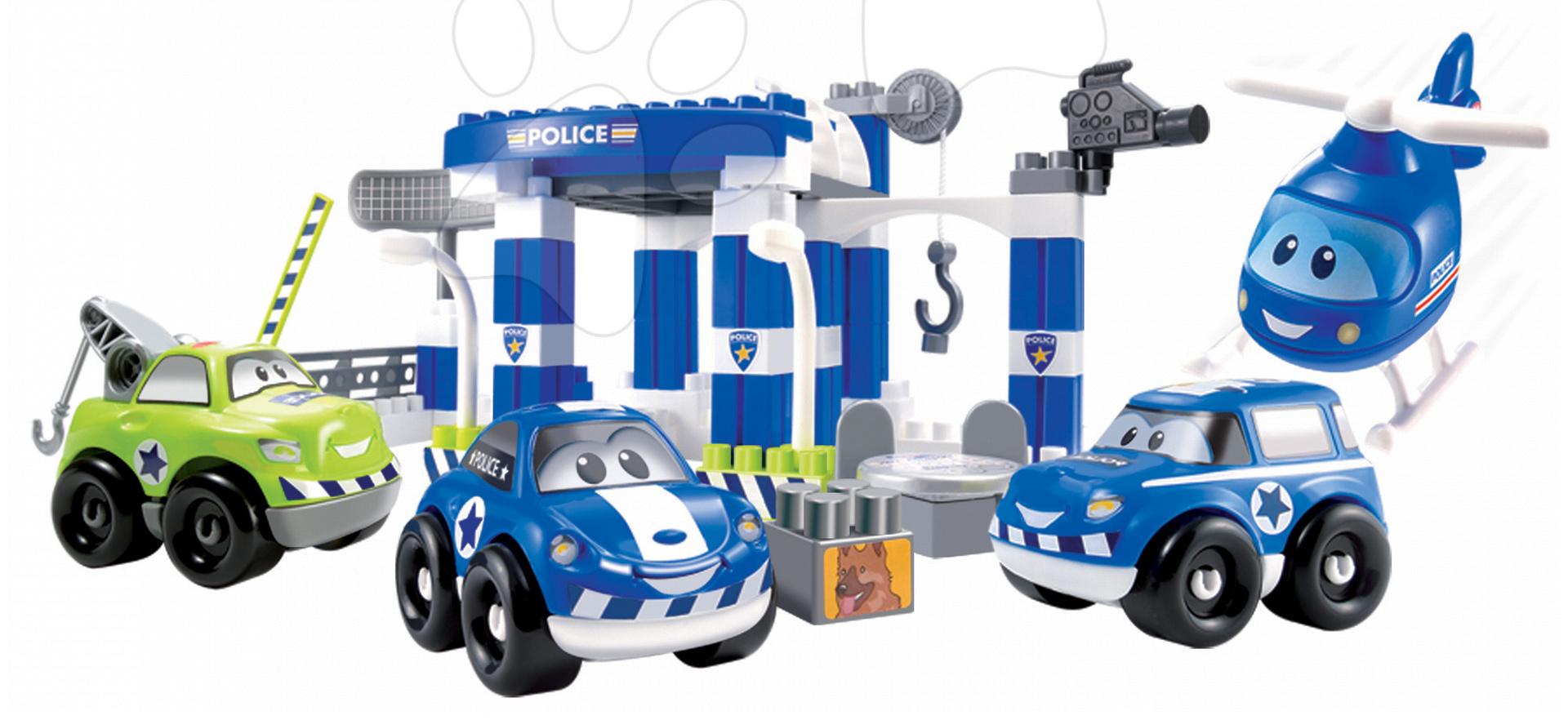 Stavebnice Abrick Policejní auta Écoiffier s garáží v dóze modrá od 18 měsíců