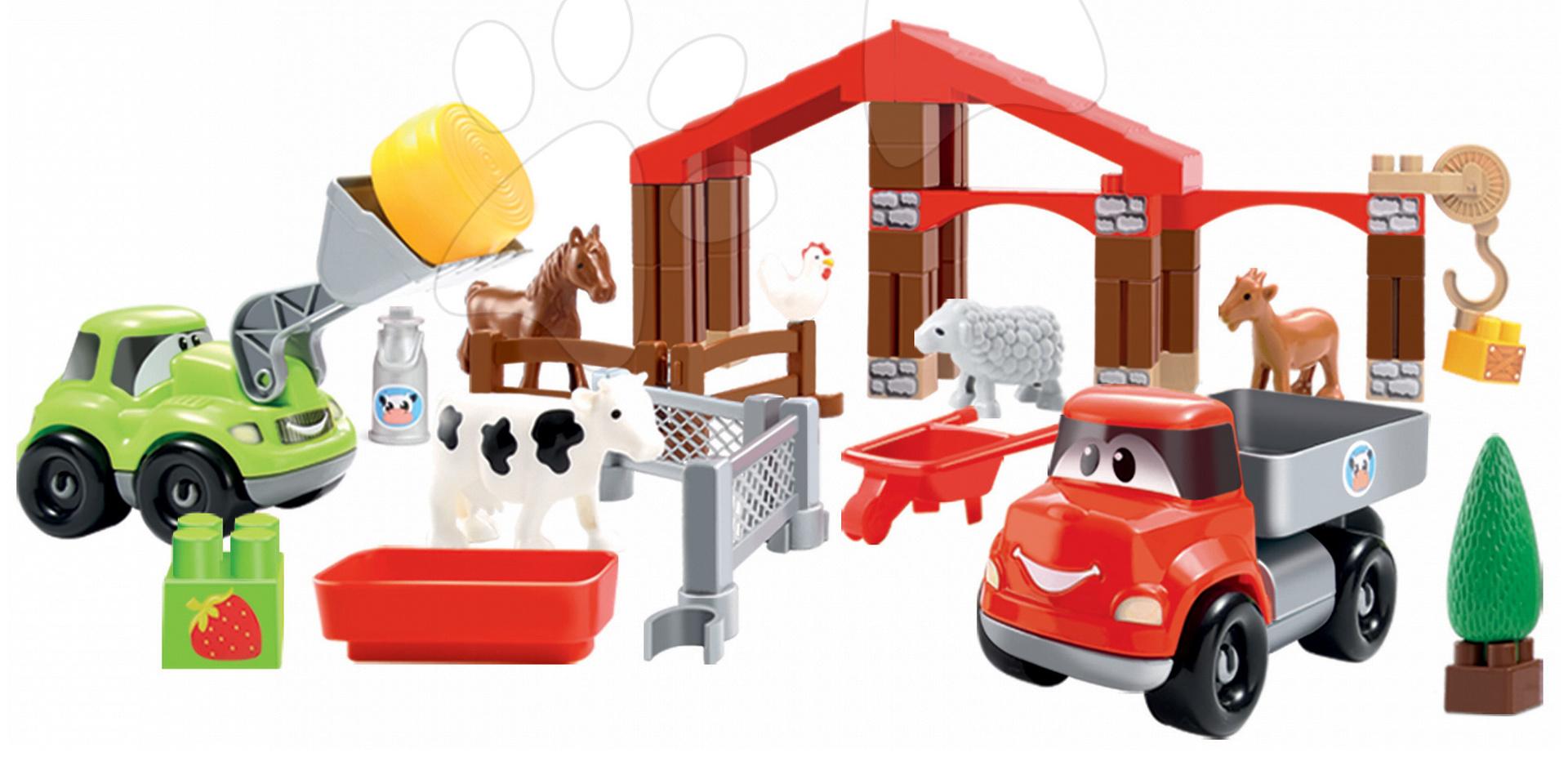 Stavebnica Abrick Farma Écoiffier s 2 autami a zvieratkami v dóze zelená od 18 mes