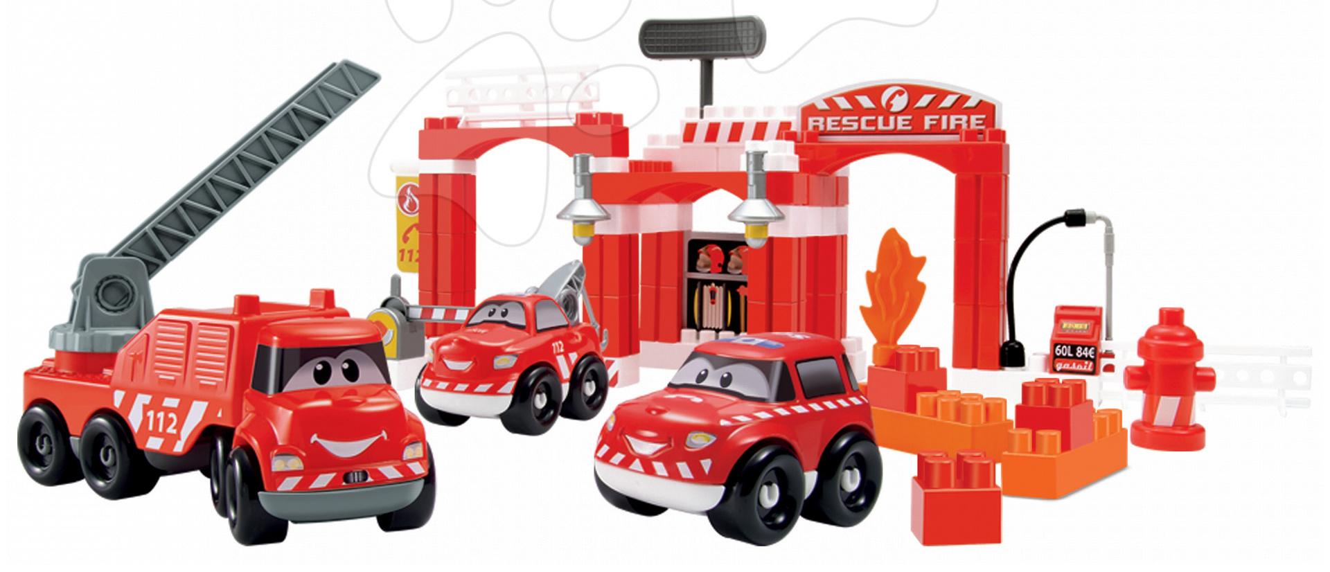 Stavebnice Abrick Hasičská auta Écoiffier s garáží v dóze červená od 18 měsíců