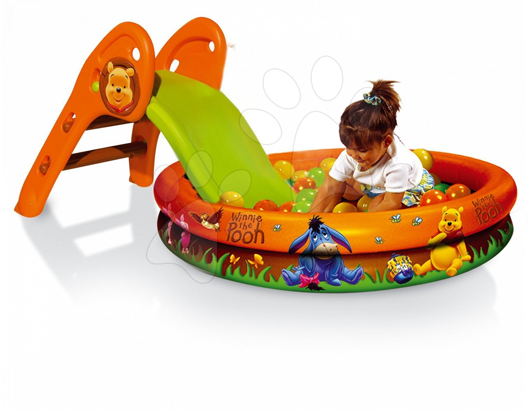 Skluzavky pro děti - Skluzavka Medvídek Pú Smoby délka 90 cm s bazénem a míčky od 24 měsíců