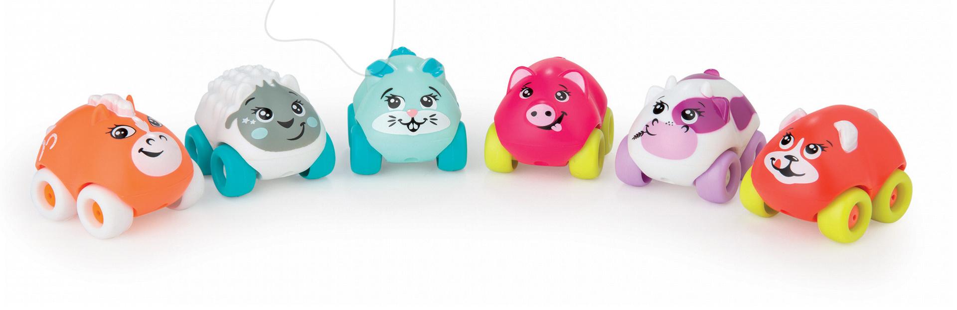 Autíčka - Zvieratko na kolieskach Eden Planet Smoby koník, ovečka, zajačik, prasiatko, kravička, mačička 7 cm od 12 mes