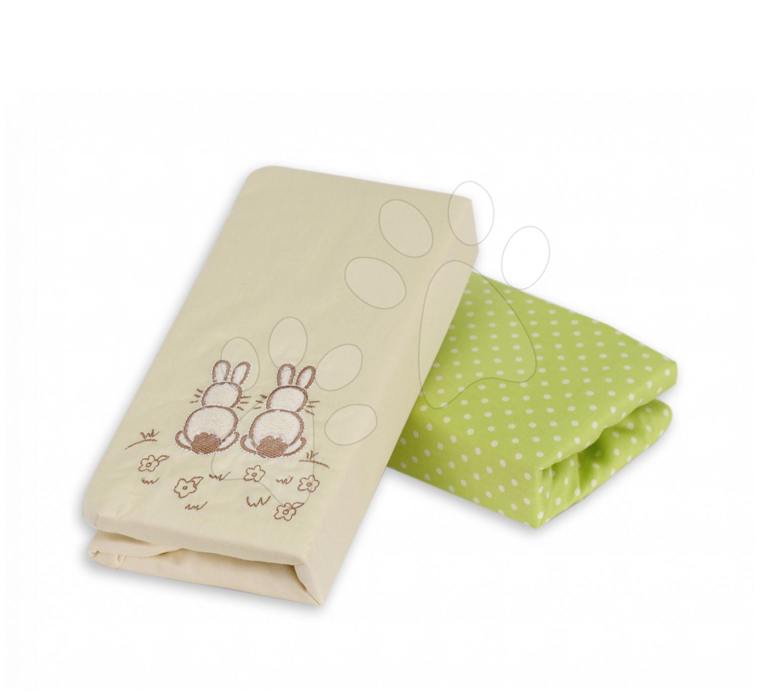 Napínacie prestieradlo do postieľky Joy toTs-smarTrike zajačik 2 kusy 100% bavlnený satén zelené