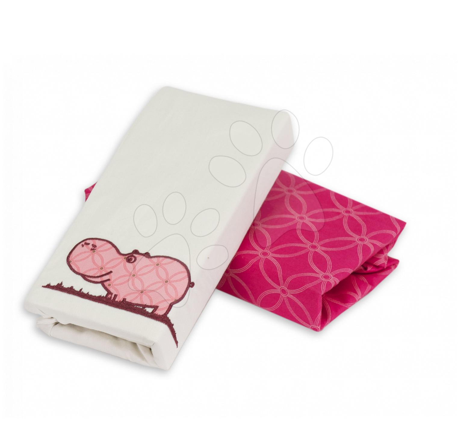 Napínacie prestieradlo do postieľky Joy toTs-smarTrike hroch 2 kusy 100% bavlnený satén ružové od 0 mesiacov