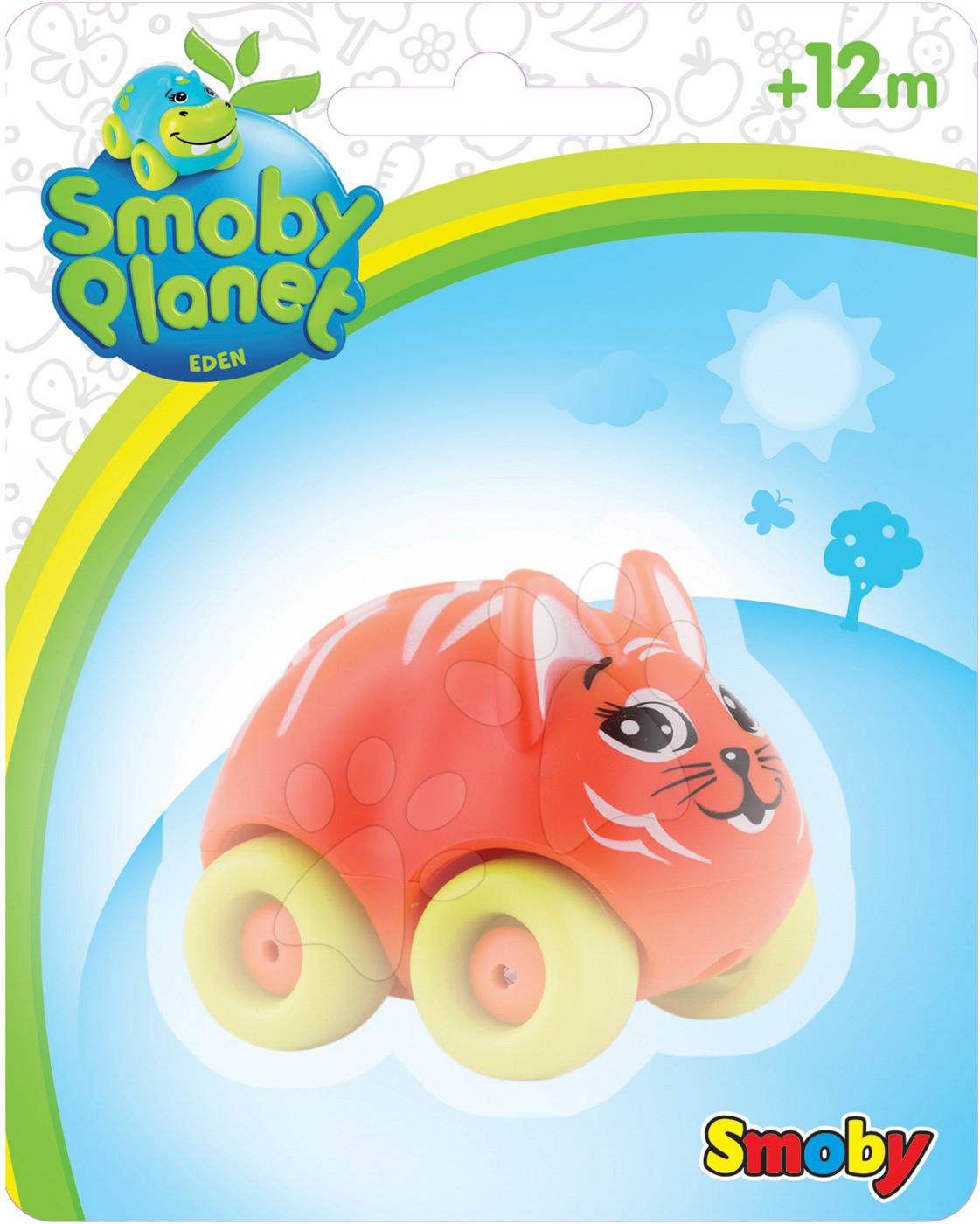 Autíčka - Zvieratko na kolieskach Eden Planet Smoby hroch, zebra, lev, slon, leopard, tiger 7 cm na karte od 12 mes
