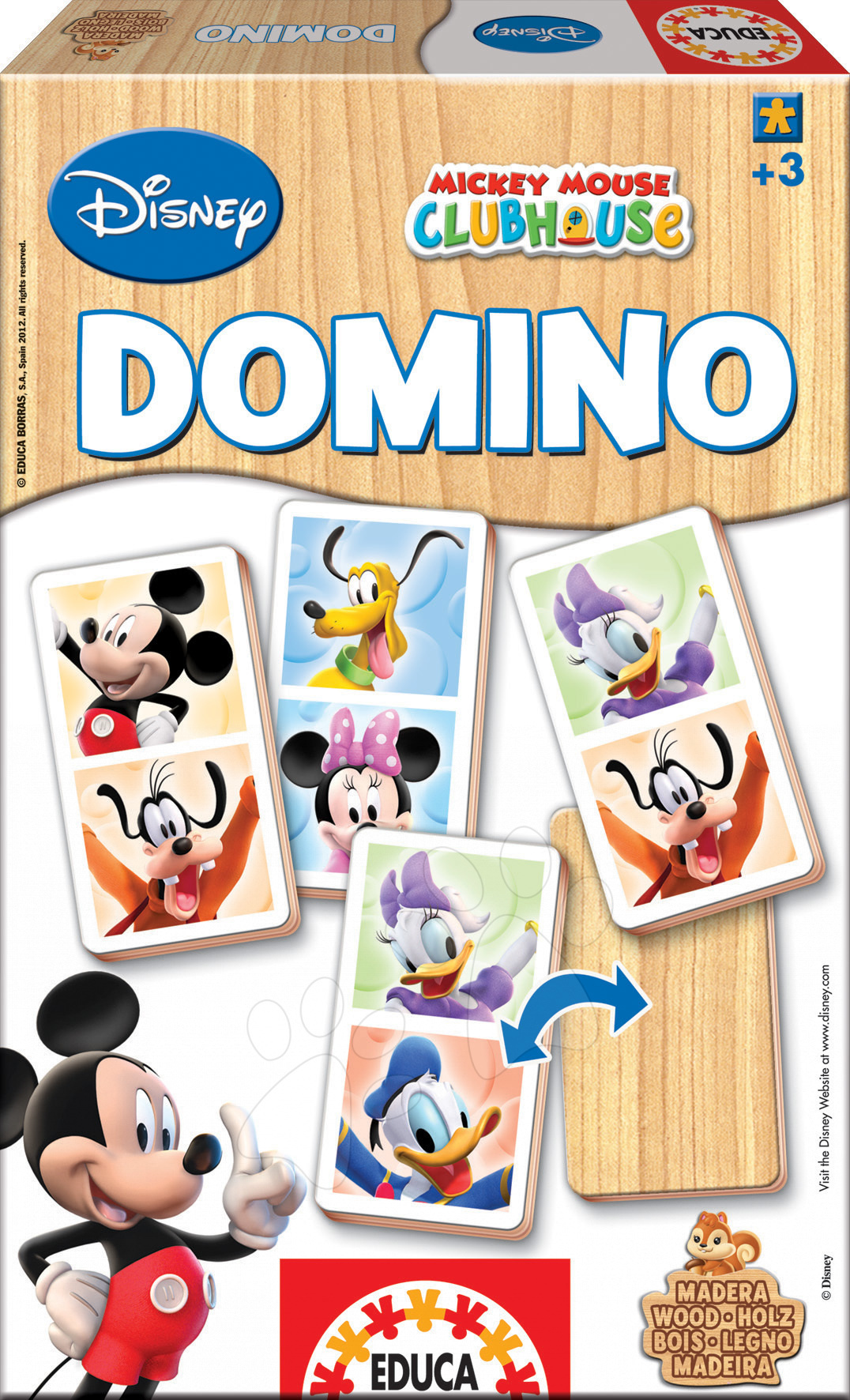 Domino a Lotto - Drevené domino Mickey Mouse a priatelia Educa 21 ks