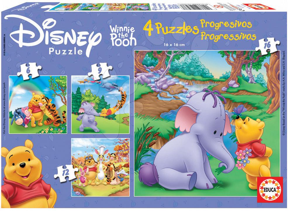 Puzzle Medvídek Pú Educa 16-12-9-6 dílů od 24 měsíců
