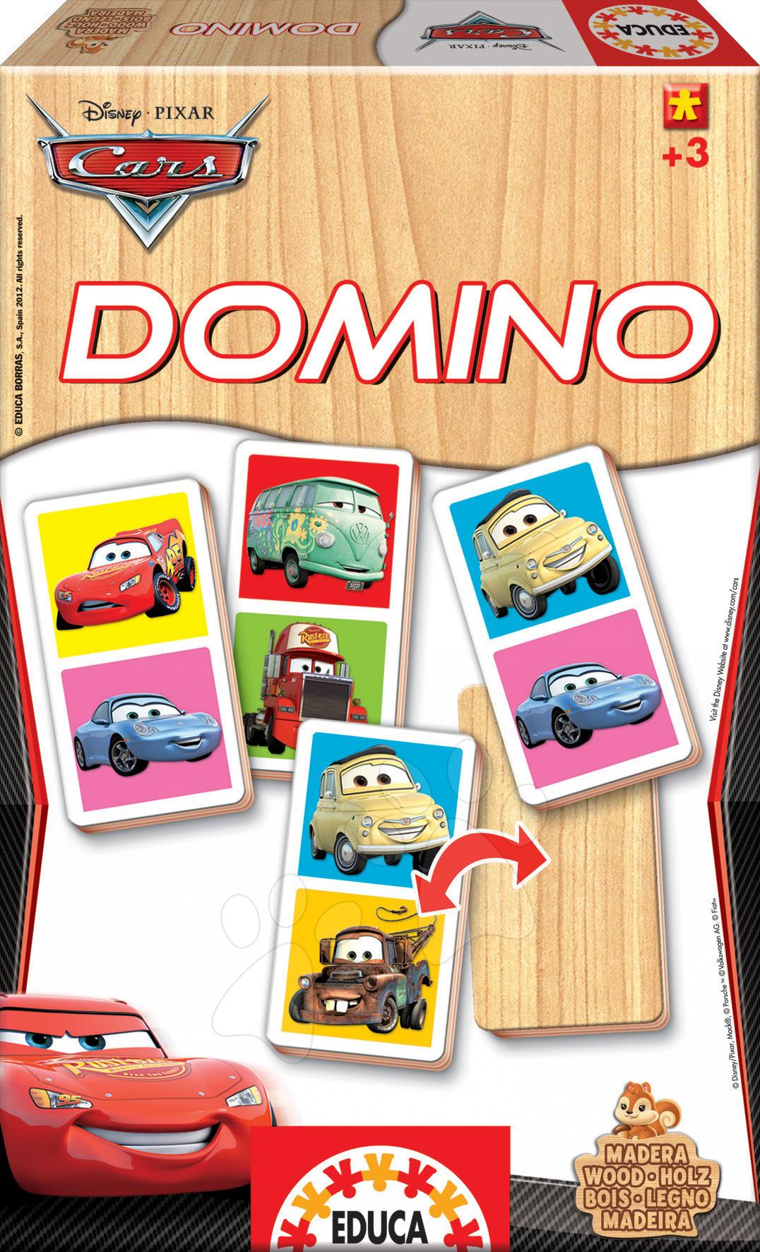 Domino a Lotto - Dřevěné domino Auta Educa 21 ks