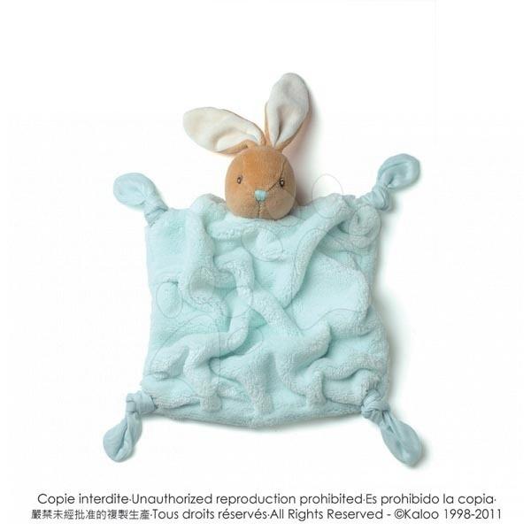 Plyšový králíček na mazlení Plume-Aqua Rabbit Doudou Kaloo 20 cm v dárkovém balení pro nejmenší tyrkysový