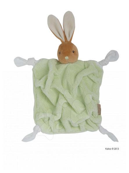 Hračky na maznanie a usínanie - Plyšový zajačik na maznanie Plume-Green Rabbit Doudou Kaloo 20 cm v darčekovom balení pre najmenších zelený