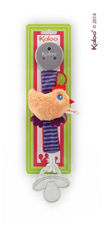 Klip na dudlík Colors-Pacifier Holders Kaloo 27 cm s plyšovým kuřátkem pro nejmenší