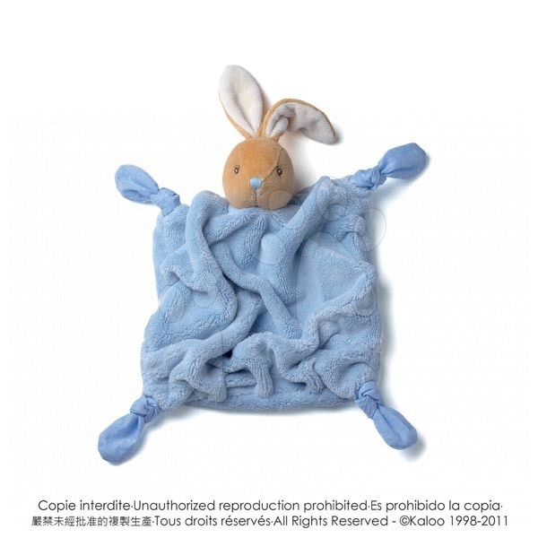 Plyšový králíček na mazlení Plume-Blue Rabbit Doudou Kaloo 20 cm v dárkovém balení pro nejmenší modrý