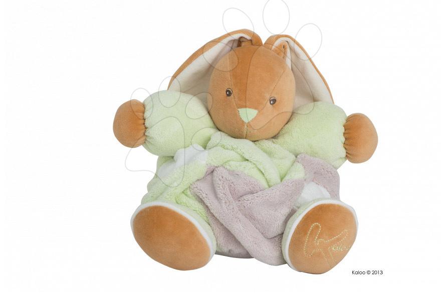 Plyšový zajačik Plume-Patchwork Green Rabbit Kaloo s hrkálkou 30 cm v darčekovom balení pre najmenších zelený