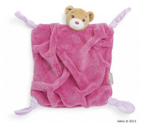 Hračky na maznanie a usínanie - Plyšový medvedík na maznanie Plume-Raspberry Bear Doudou Kaloo 20 cm v darčekovom balení pre najmenších ružový