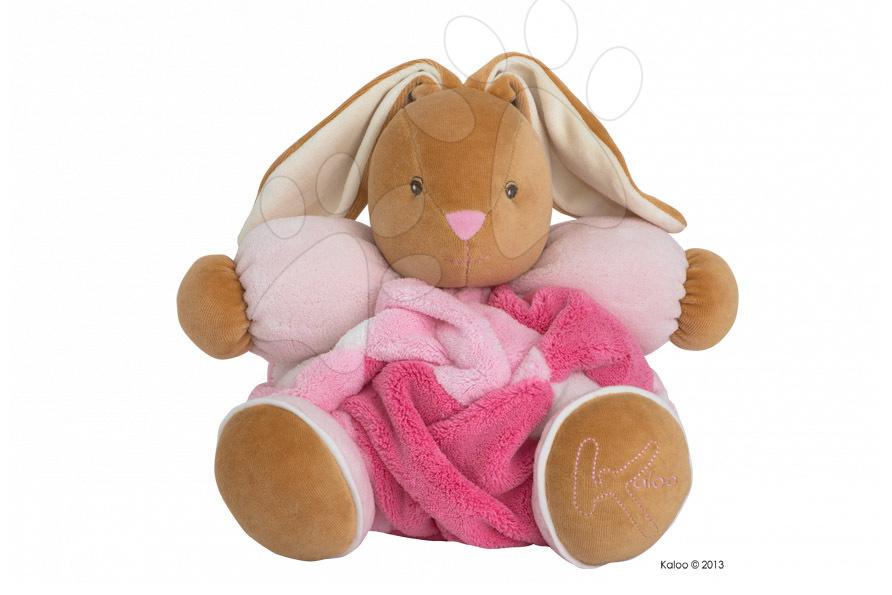 Hračky pre bábätká - Plyšový zajačik Plume-Patchwork Pink Rabbit Kaloo s hrkálkou 30 cm v darčekovom balení pre najmenších ružový