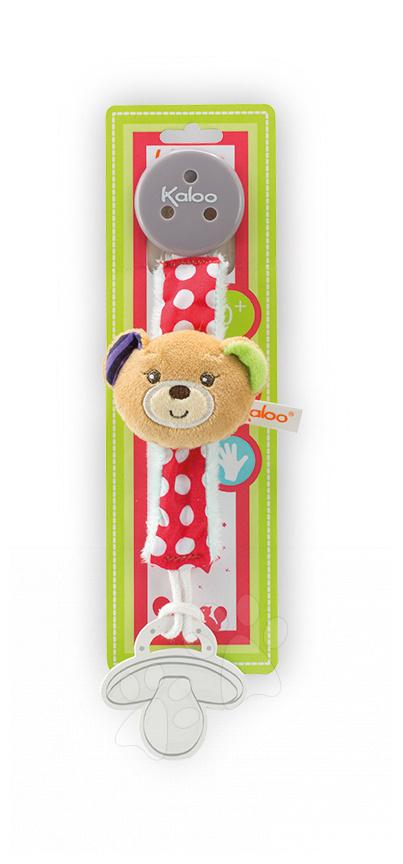 Klip na dudlík Colors-Pacifier Holders Kaloo 27 cm s plyšovým medvídkem pro nejmenší
