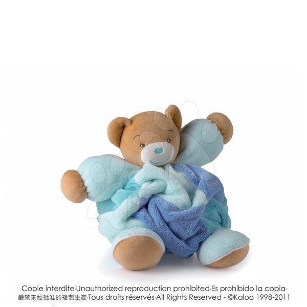 Plyšový medvídek Plume-Patchwork Blue Bear Kaloo s chrastítkem 30 cm v dárkovém balení pro nejmenší modrý