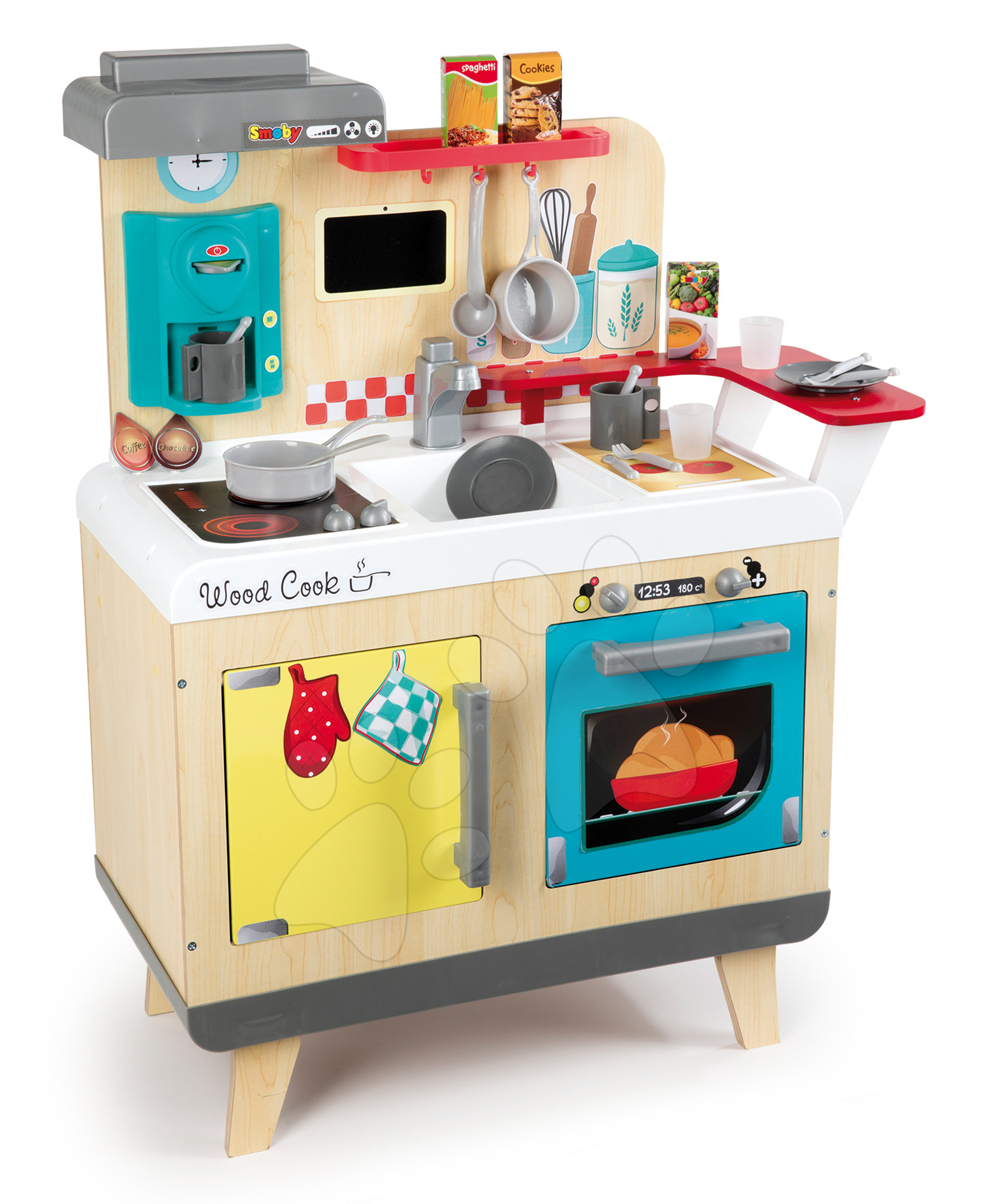 Dřevěná kuchyňka elektronická Wood Cook Smoby s funkcí magického bublání a kávovarem, 22 doplňků