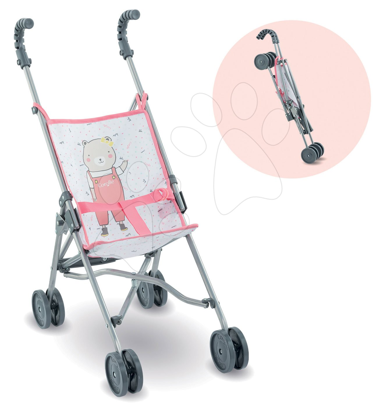 Kočík skladací Umbrella Stroller Mon Grand Poupon Corolle Canne Pink pre 36-42 cm bábiku od 24 mes
