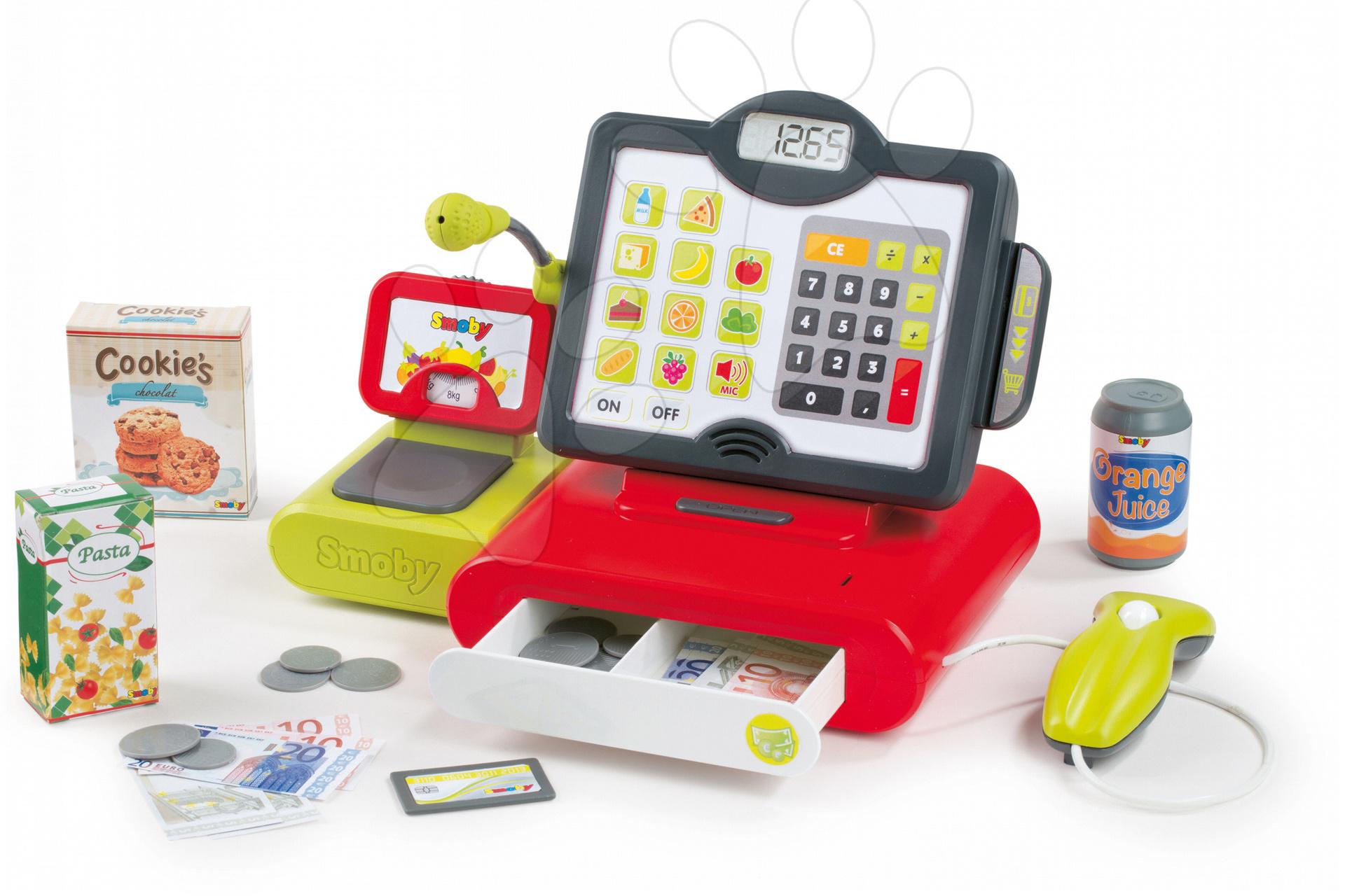 Pokladna pro děti Marchand Smoby elektronická se zvukem, váhou, čtečkou kódů a 25 doplňky červená