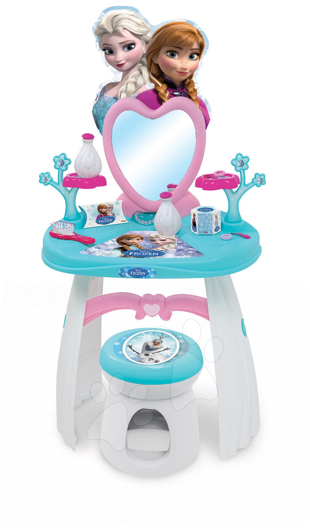 Staré položky - Kozmetický stolík Frozen Smoby so stoličkou a doplnkami modro-biely