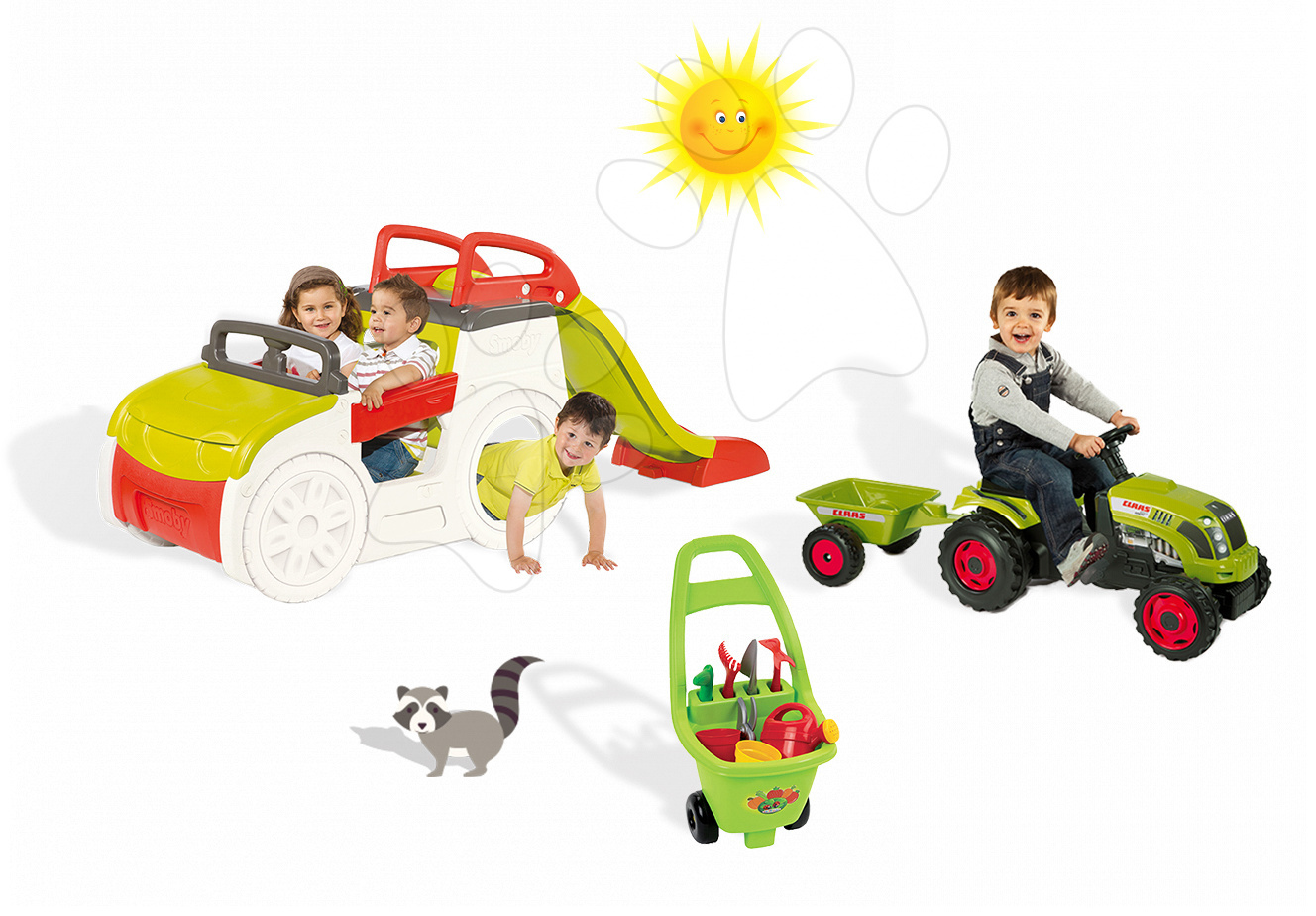 Set prolézačka pro děti Adventure Car Smoby se skluzavkou dlouhou 150 cm, traktor Claas GM a vozík pro zahradníka od 2 let