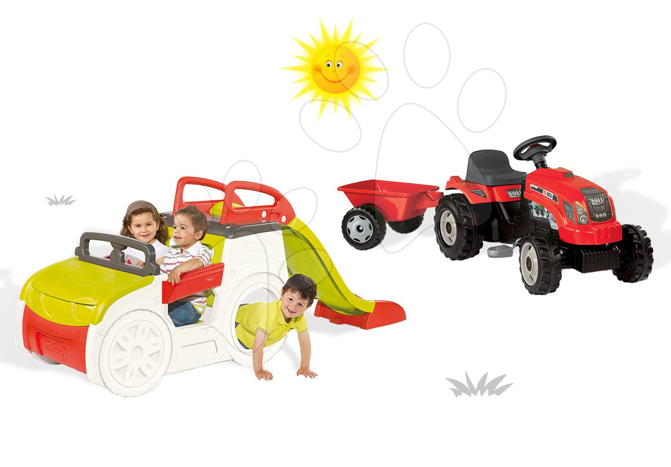 Set prolézačka pro děti Adventure Car Smoby se skluzavkou dlouhou 150 cm a traktor RX Bull s přívěsem od 2 let