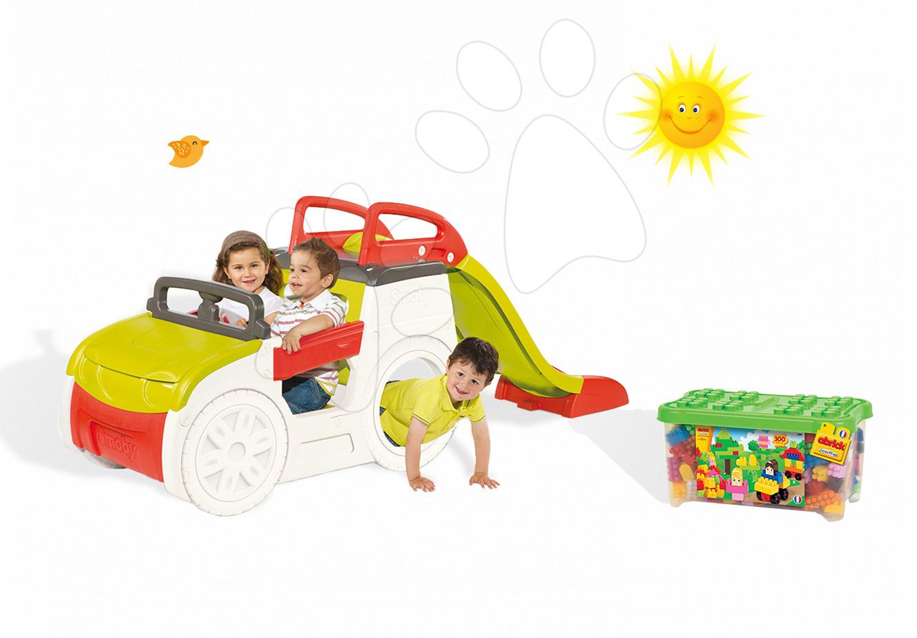 Set dětská prolézačka Adventure Car Smoby se skluzavkou dlouhou 150 cm a stavebnice Abrick 300 ks od 2 let