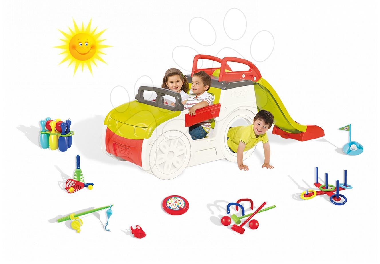 Set dětská prolézačka Adventure Car Smoby se skluzavkou dlouhou 150 cm a 7 sportovních her od 2 let