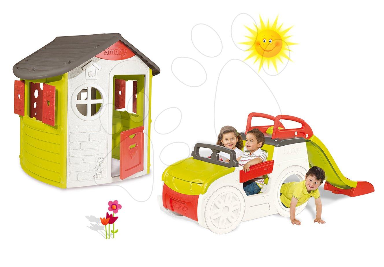 Set prolézačka pro děti Adventure Car Smoby se skluzavkou dlouhou 150 cm a domeček My House od 2 let
