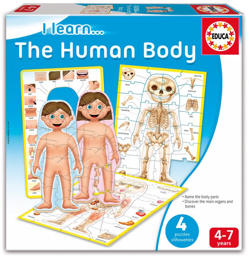 Naučná hra pro děti Učíme se Naše tělo 4 puzzle Educa v angličtině od 4-7 let