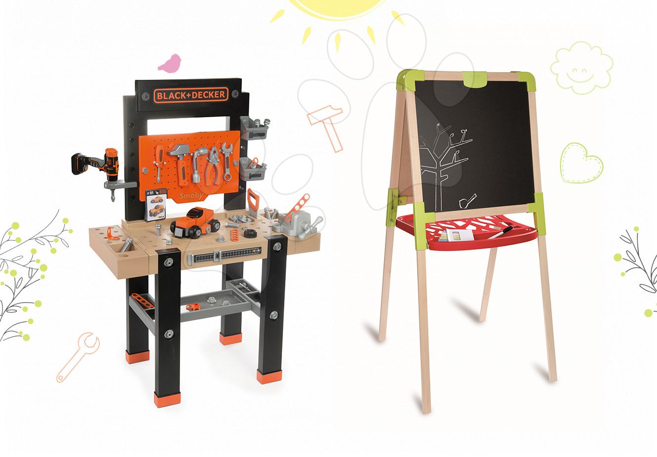 Detská dielňa sety - Set pracovná dielňa Black+Decker Smoby s vŕtačkou a drevená magnetická tabuľa obojstranná