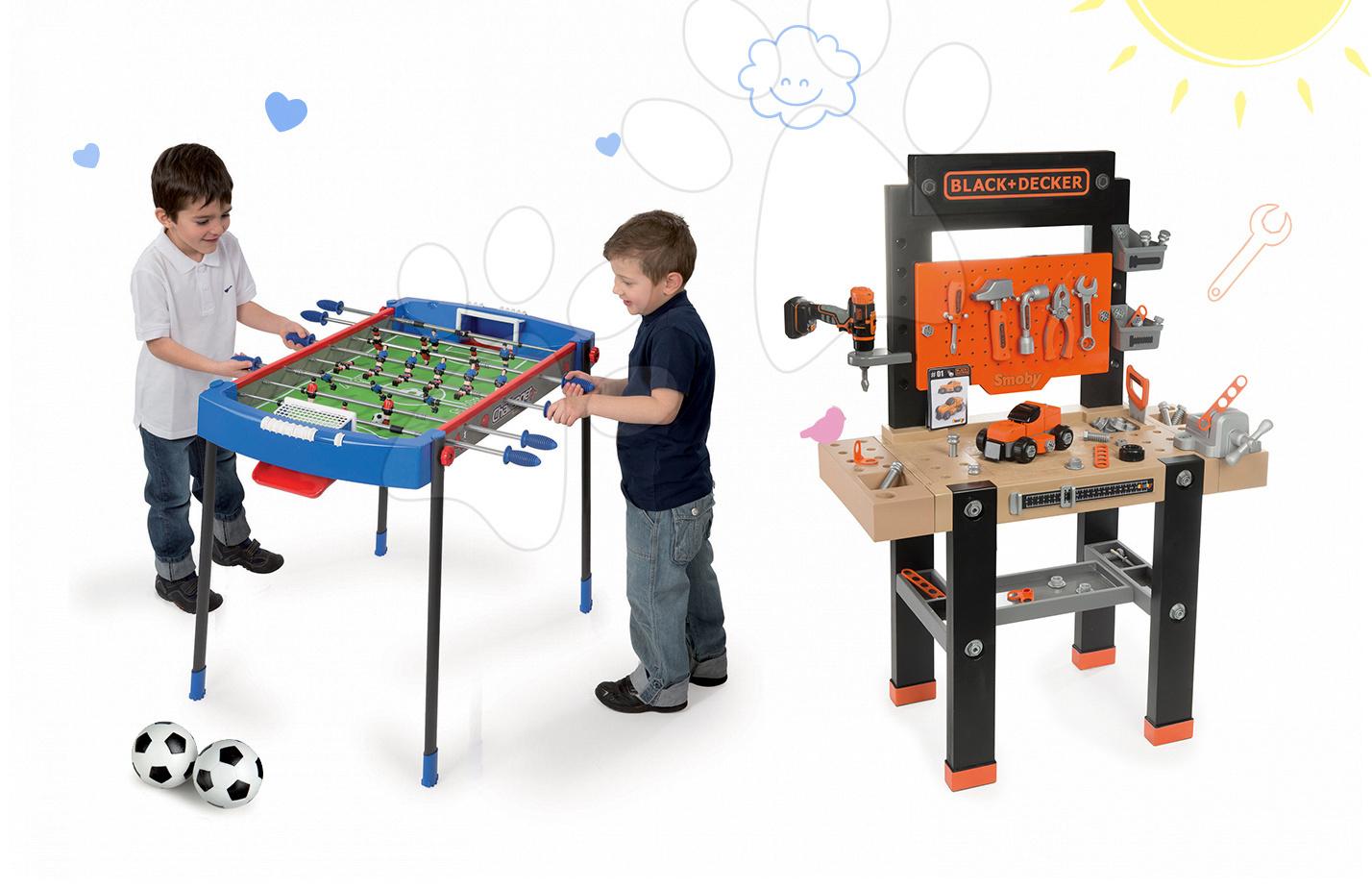 Smoby pracovná dielňa pre deti Black+Decker a futbalový stolík Challenger 360701-13