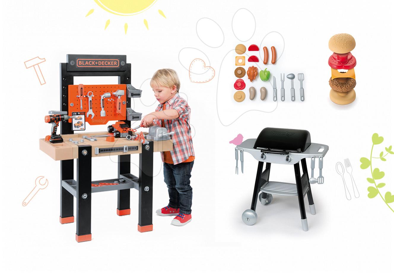 Smoby pracovná dielňa pre deti Black+Decker a kuchynka Barbecue Grill 360701-14
