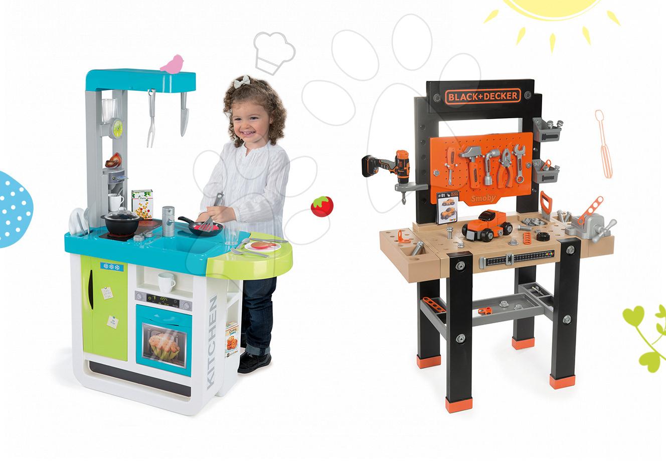 Set pracovní dílna pro děti Black+Decker Smoby s vrtačkou a kuchyňka Cherry Kitchen se zvuky a kávovarem