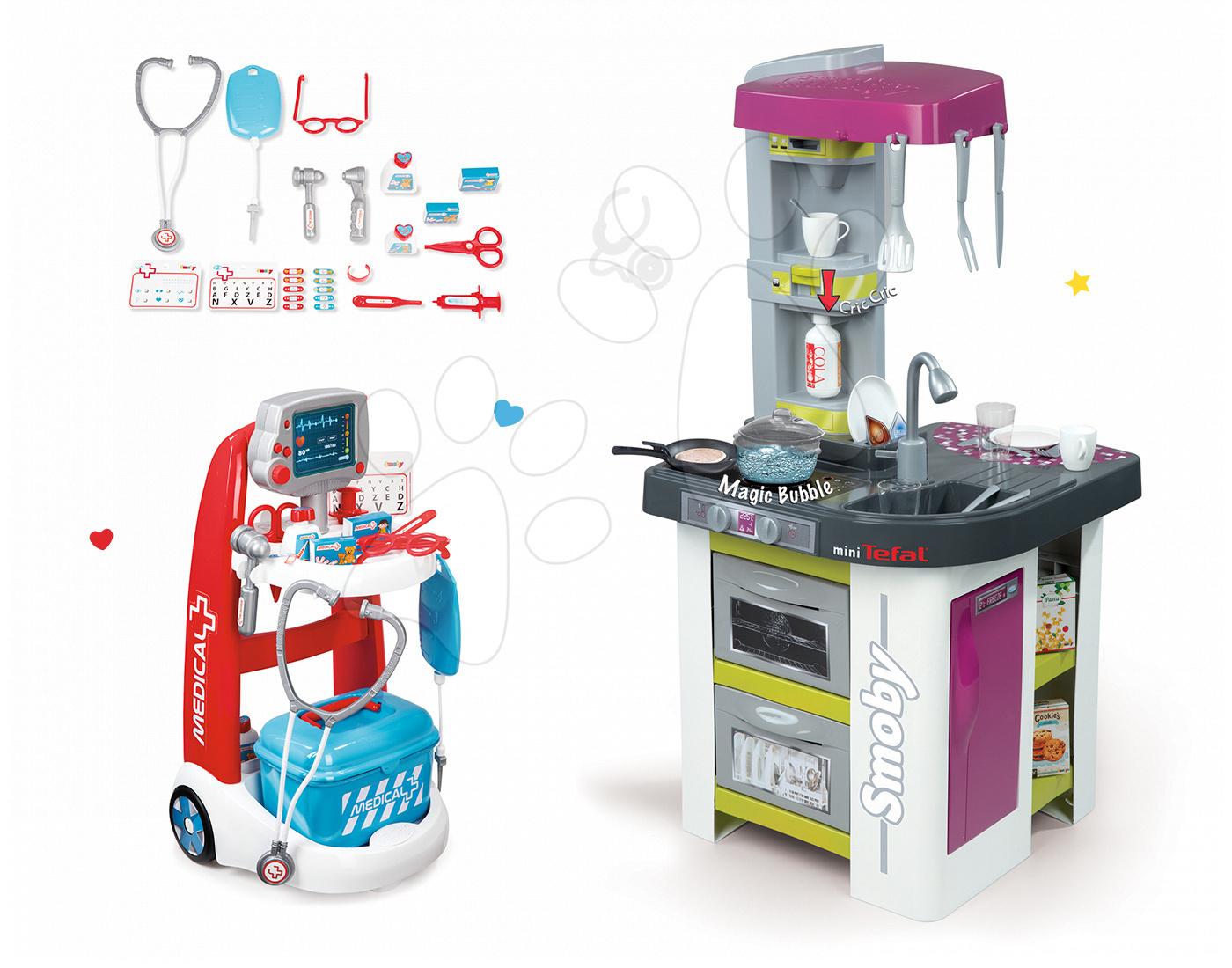 Set kuchyňka Tefal Studio Barbecue Smoby s magickým bubláním grilem a lékařský vozík