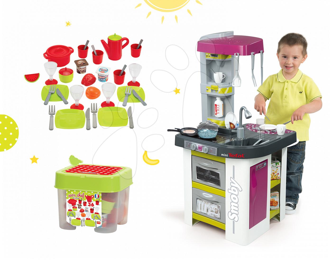 Smoby set detská kuchynka Tefal Studio BBQ a Écoiffier jedálenská sada 311027-24