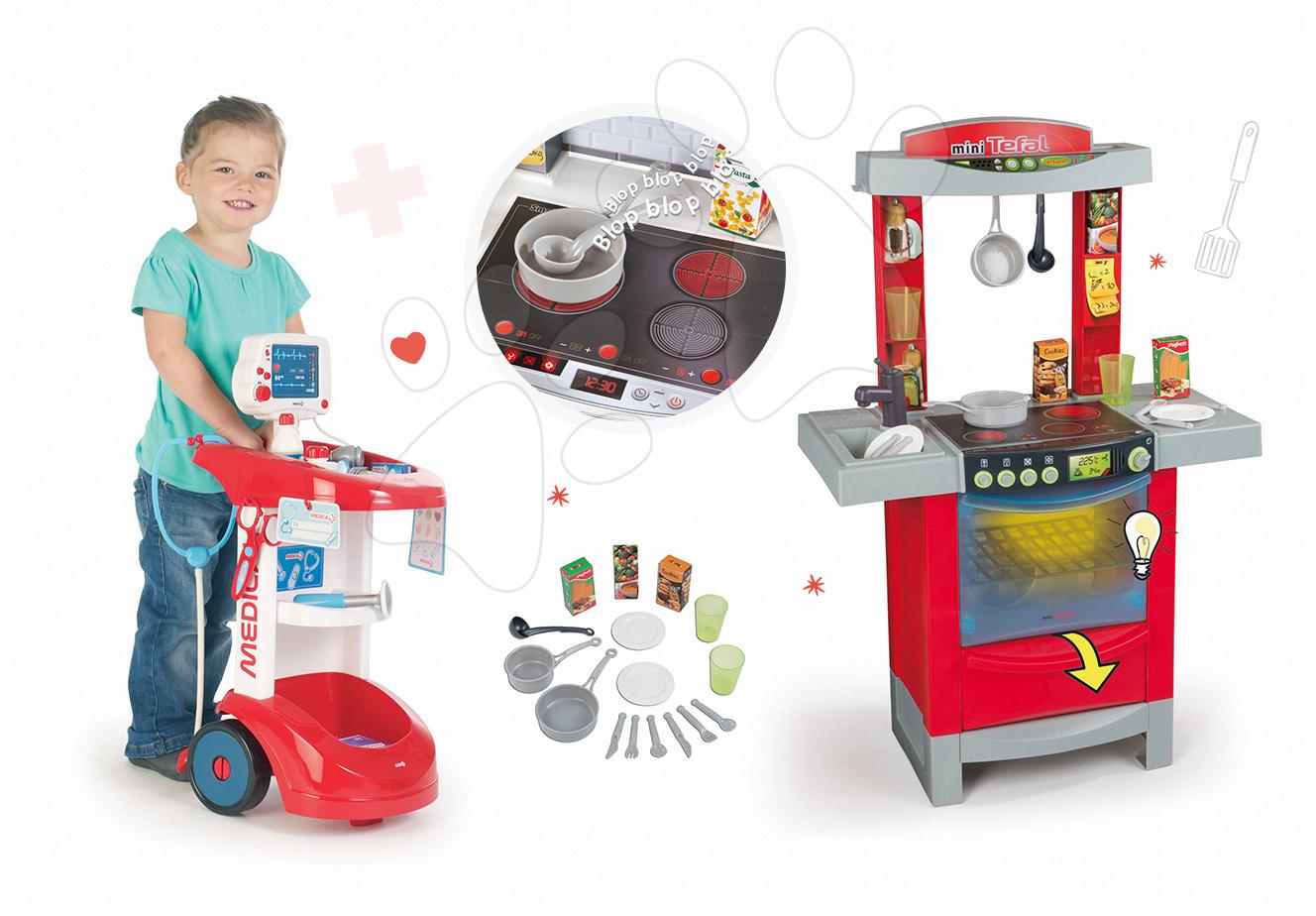 Lekárske vozíky sety - Set lekársky vozík Smoby zvukový s tlakomerom a elektronická kuchynka Cook'Tronic Tefal so zvukmi a svetlom