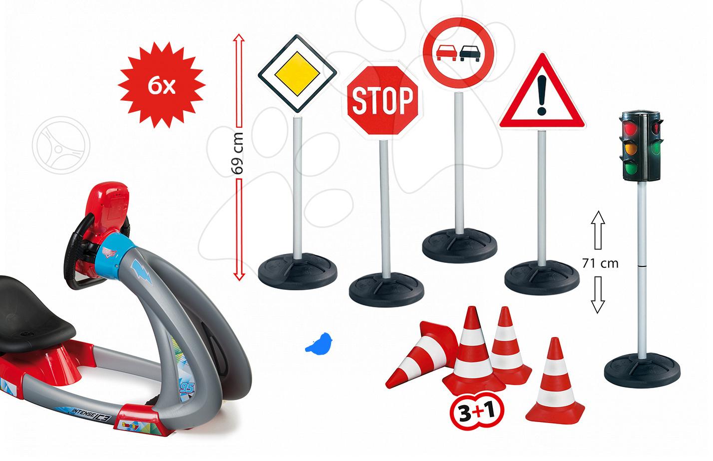 Set trenažér V8 Driver Smoby elektronický so zvukom a svetlom a dopravné značky so semaforom a kužeľmi