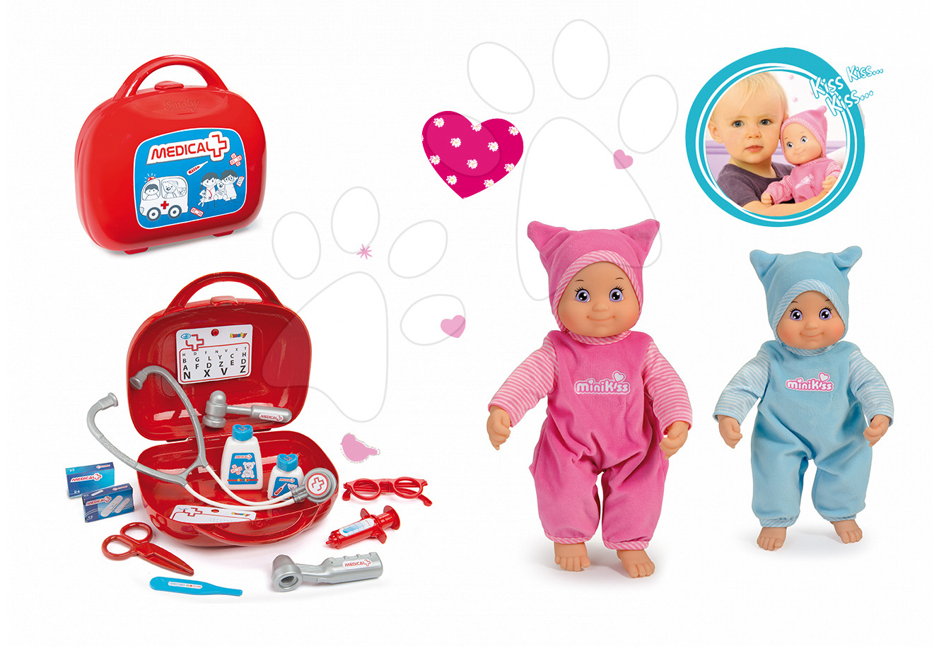 Set lékařský kufřík Smoby a panenka MiniKiss se zvukem v čepičce