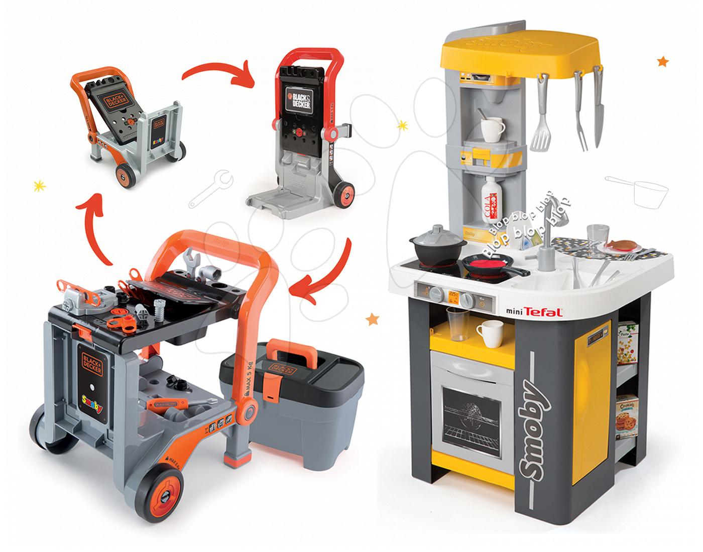 Set kuchyňka Tefal Studio Smoby s automatem na sodu a pracovní dílna Black&Decker
