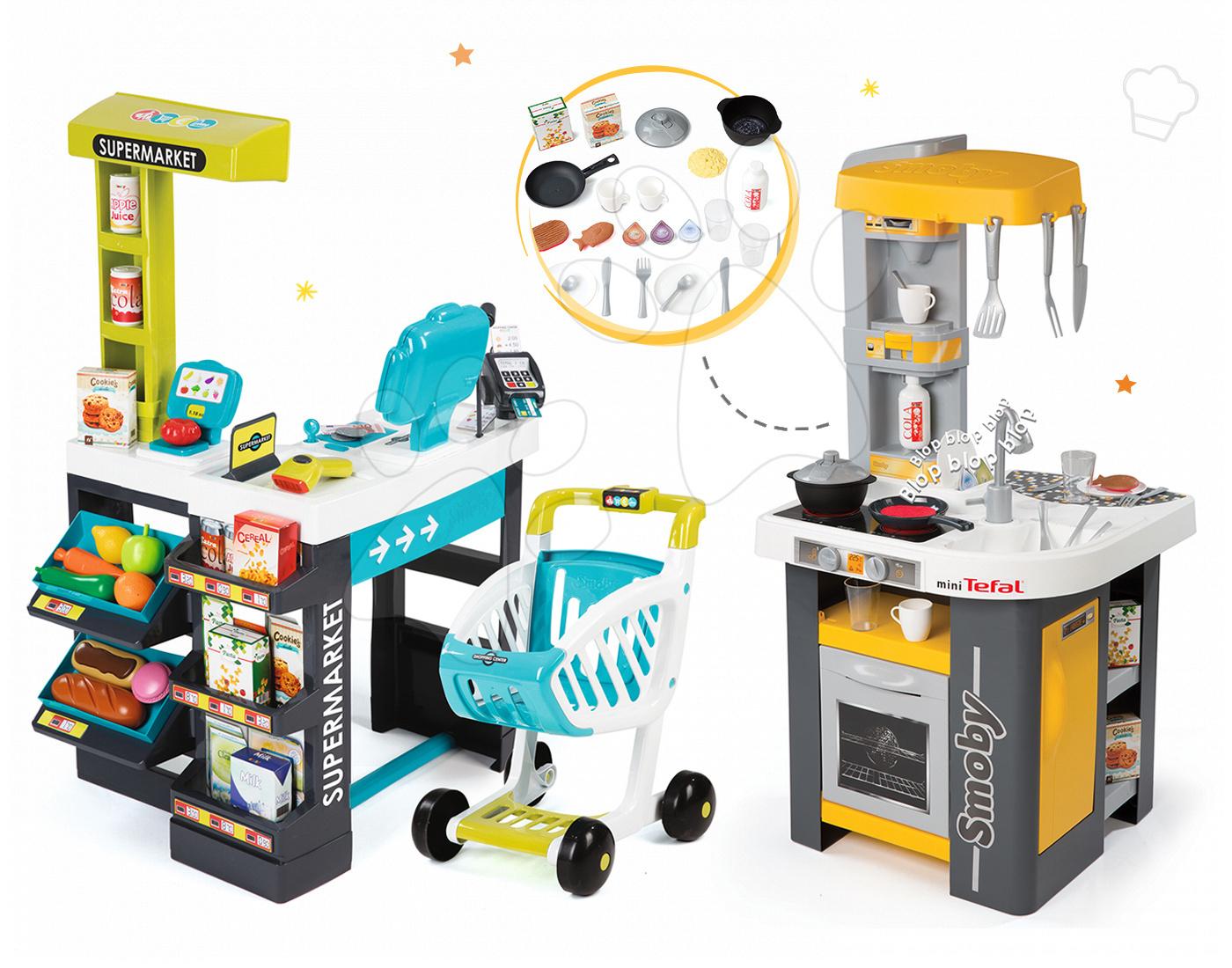Set kuchyňka Tefal Studio Smoby s automatem na sodu a obchod Supermarket