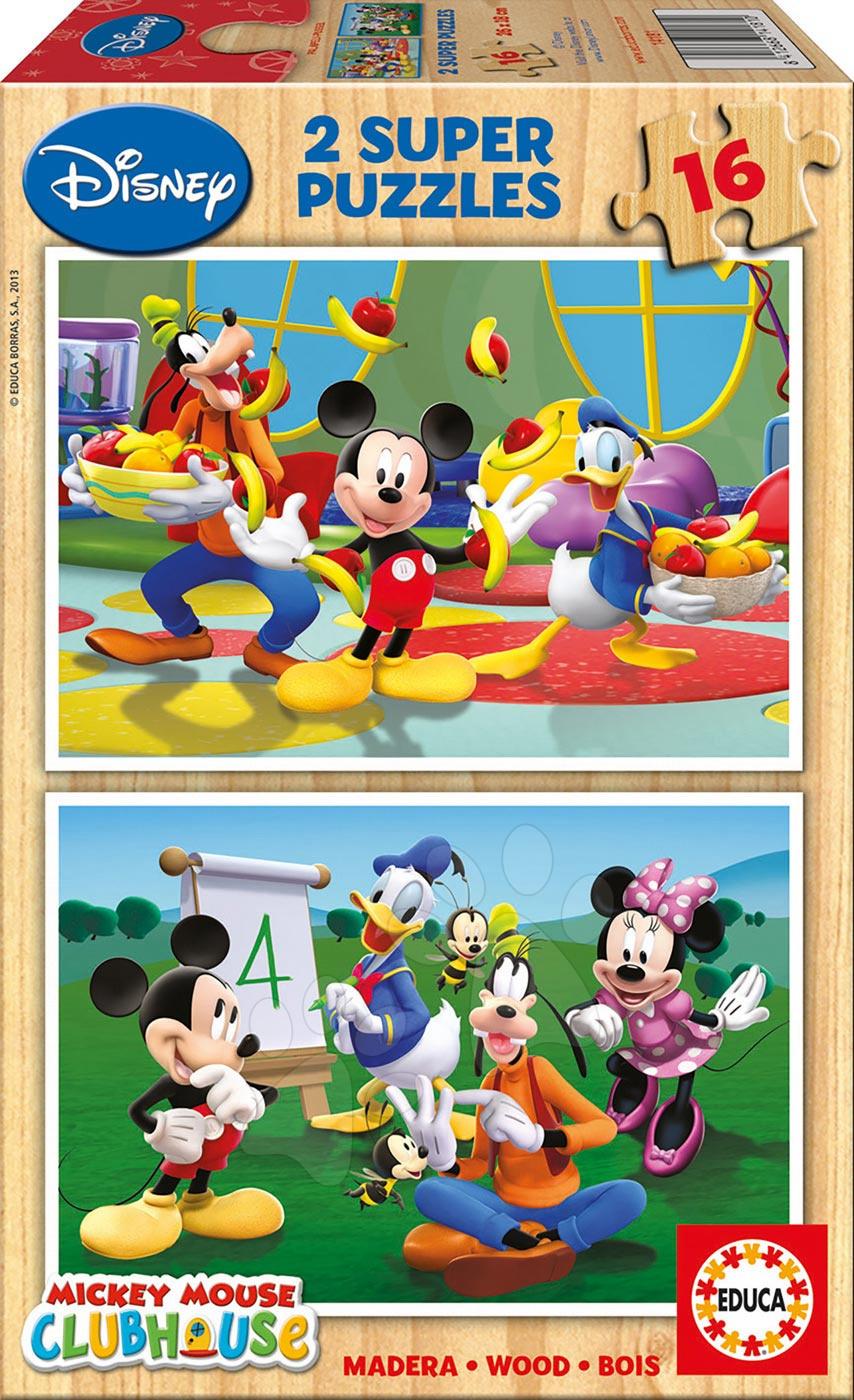 Drevené puzzle Mickey Mouse a priatelia Educa 2x 16 dielov