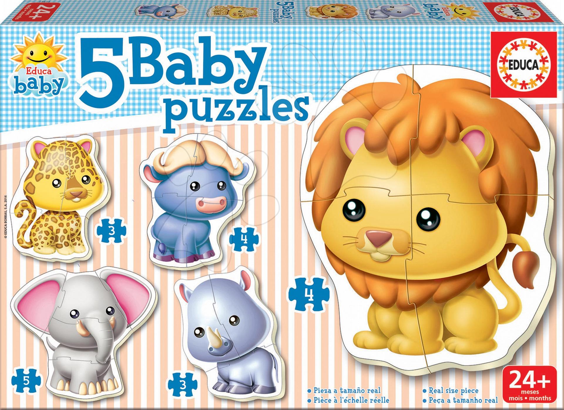 Puzzle pre najmenších - Baby puzzle Zvieratká z džungle Educa 5-obrázkové od 24 mes