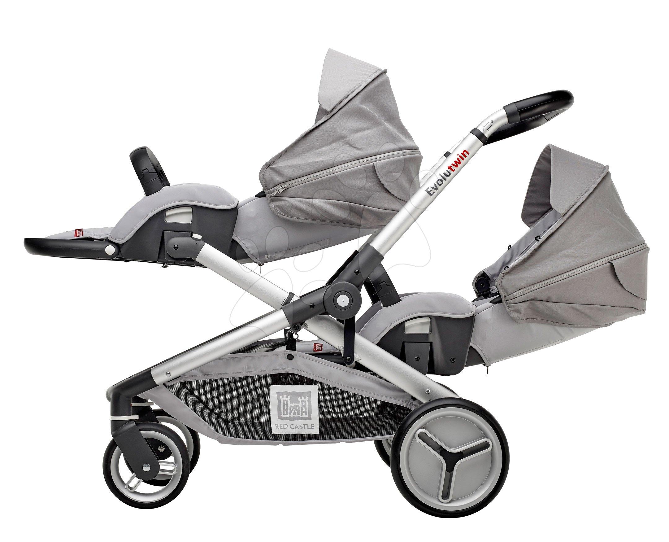 Kočíky - Kočík pre dve deti Red Castle Evolutwin® Grey polohovateľný s kompletnou výbavou a pršiplášťom