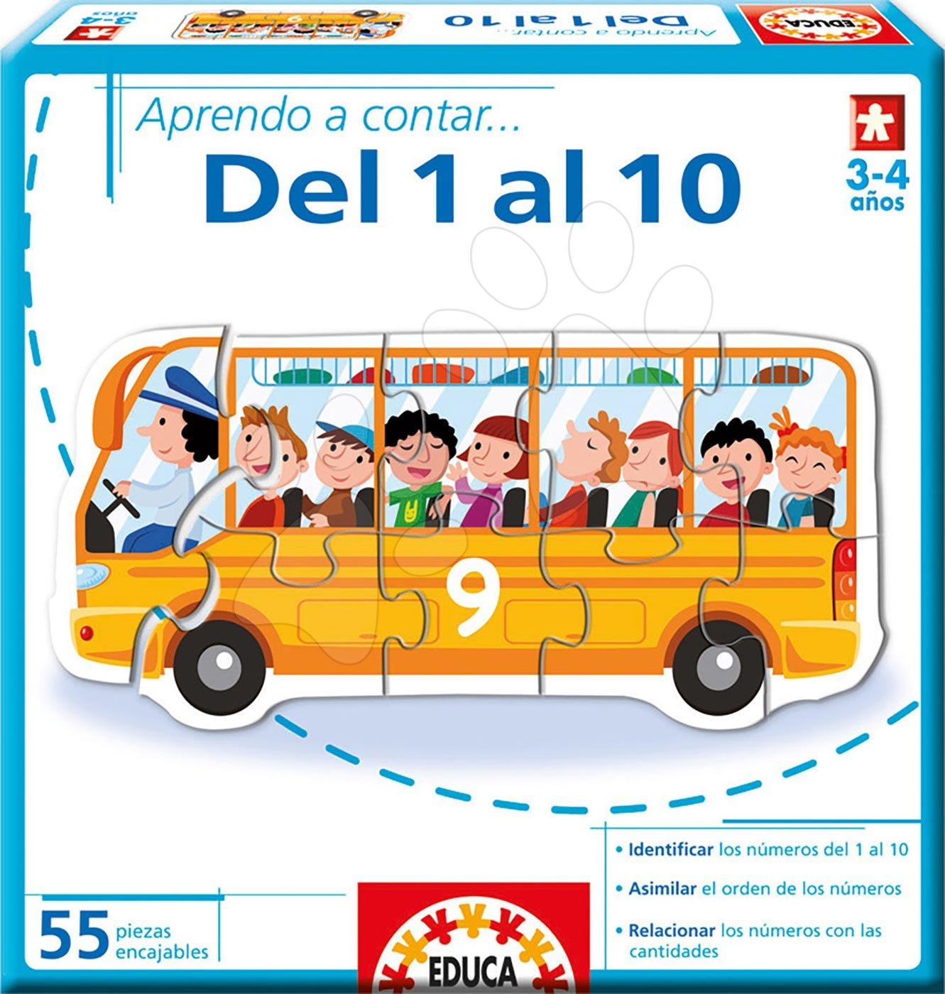 Náučná hra Učíme sa čísla od 1 do 10 Educa 55 dielov - Cestujúci v dopravných prostriedkoch od 3-4 rokov