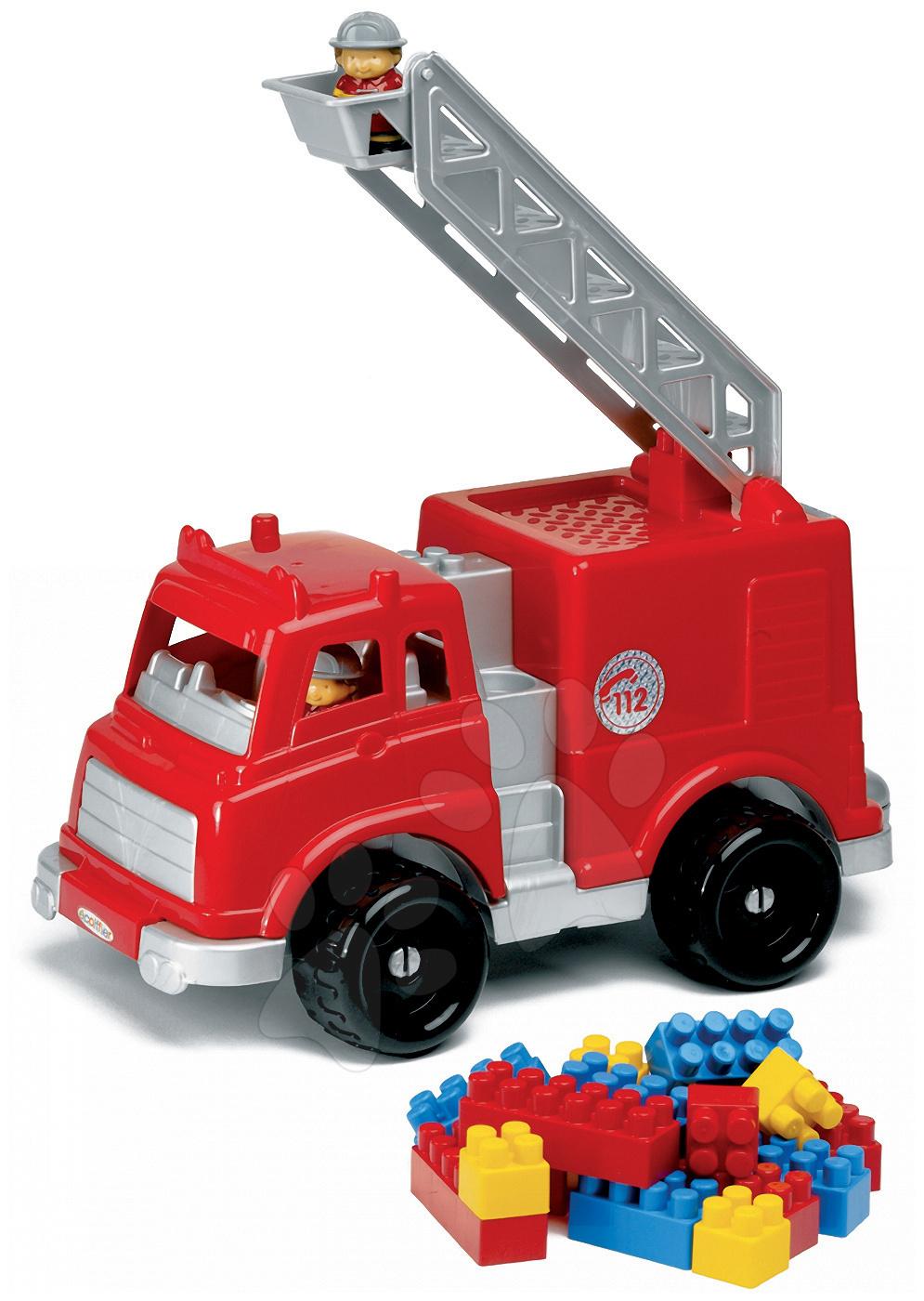 Camioane - Mașină de pompieri Écoiffier Abrick cu cuburi cu lungime de 42 cm de la 18 luni