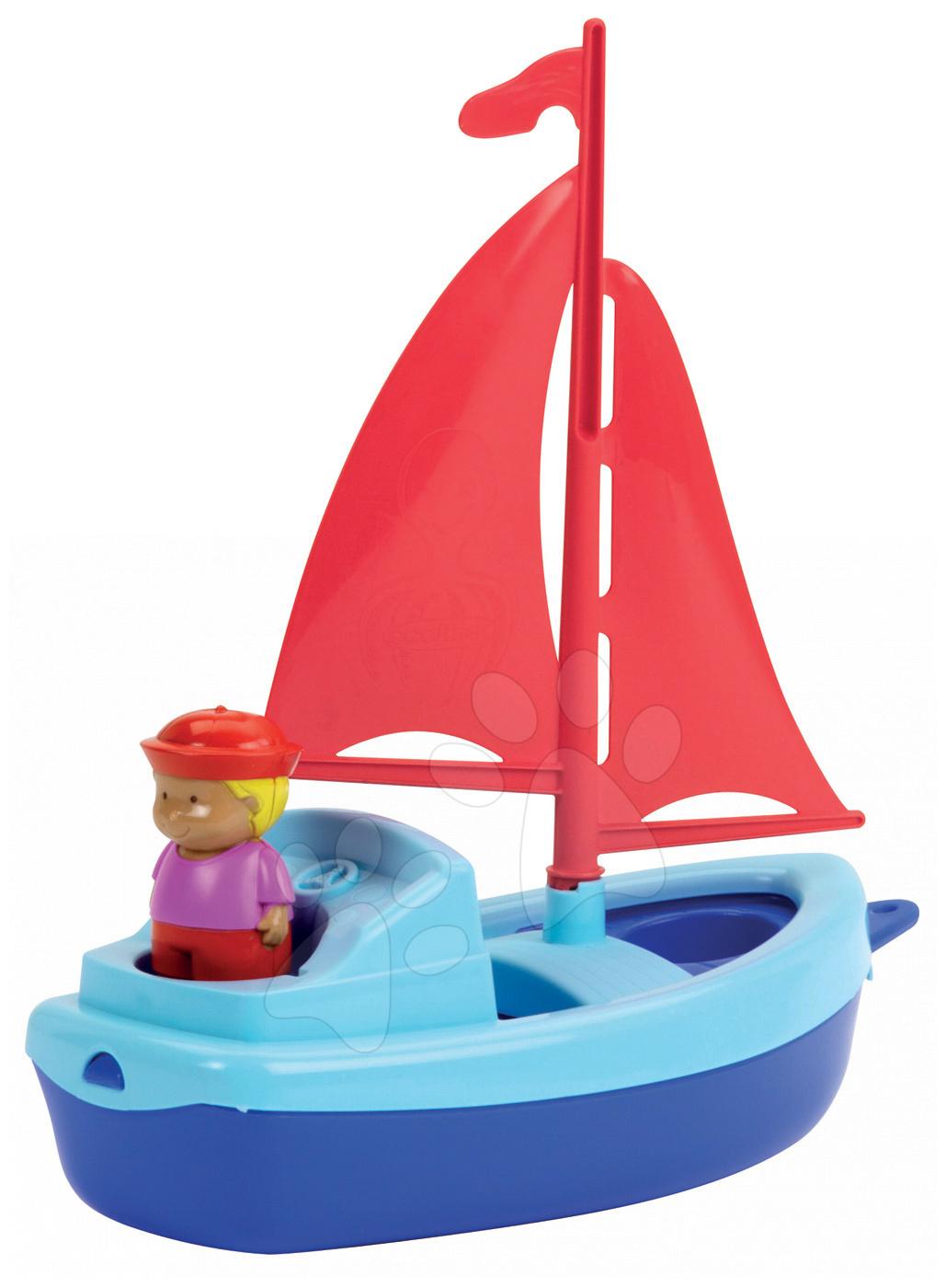Vitorlás hajó tengerésszel Écoiffier (hossza 24,5 cm) piros-kék 18 hó-tól