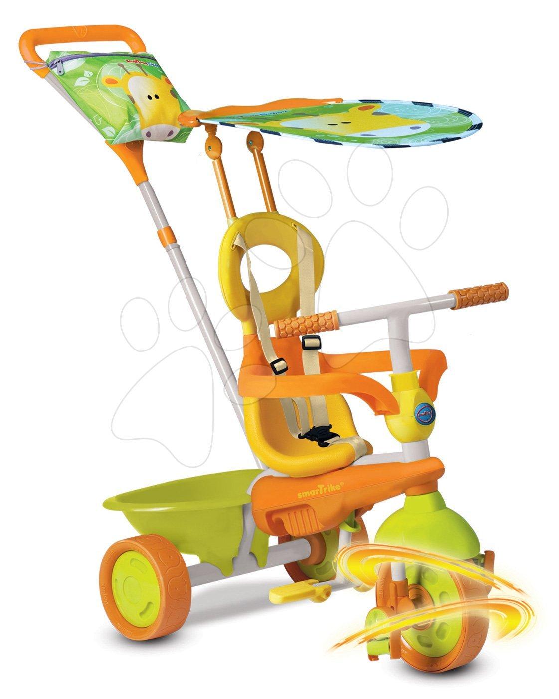 Trojkolky od 10 mesiacov - Trojkolka Safari Žirafa Touch Steering smarTrike zeleno-oranžová od 10 mes