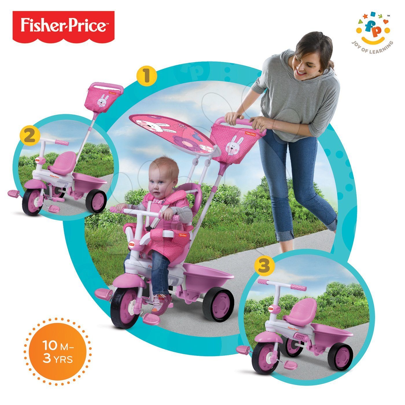 Trojkolky od 10 mesiacov - Trojkolka Elite Pink Fisher-Price ružová od 10 mes